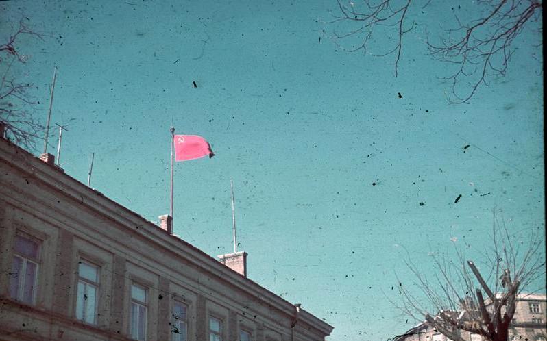 Sofia, sowjetische Flagge auf Gebäude